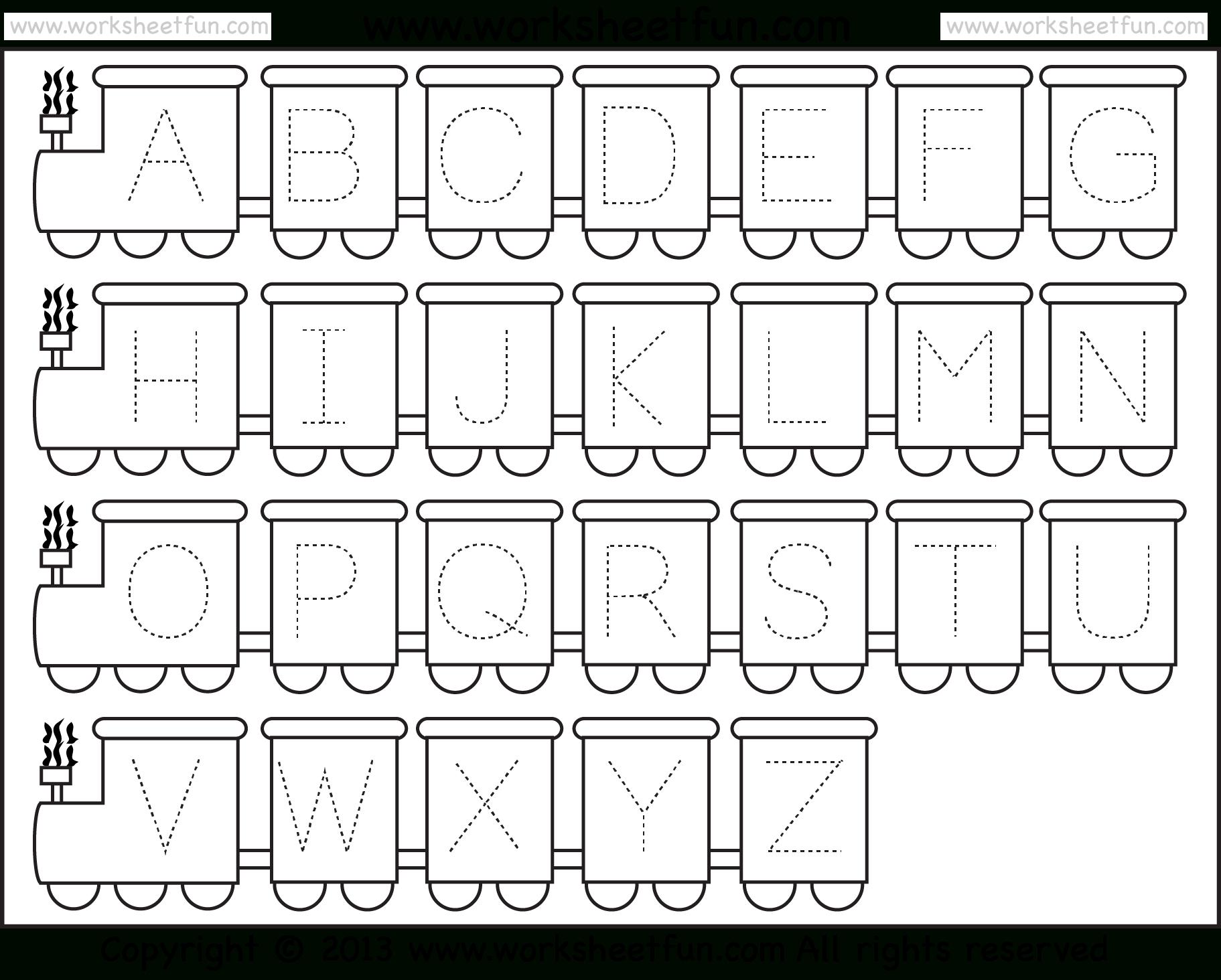 Letter Tracing Worksheet – Train Theme / Free Printable Worksheets - Free Abc Printables For Kindergarten