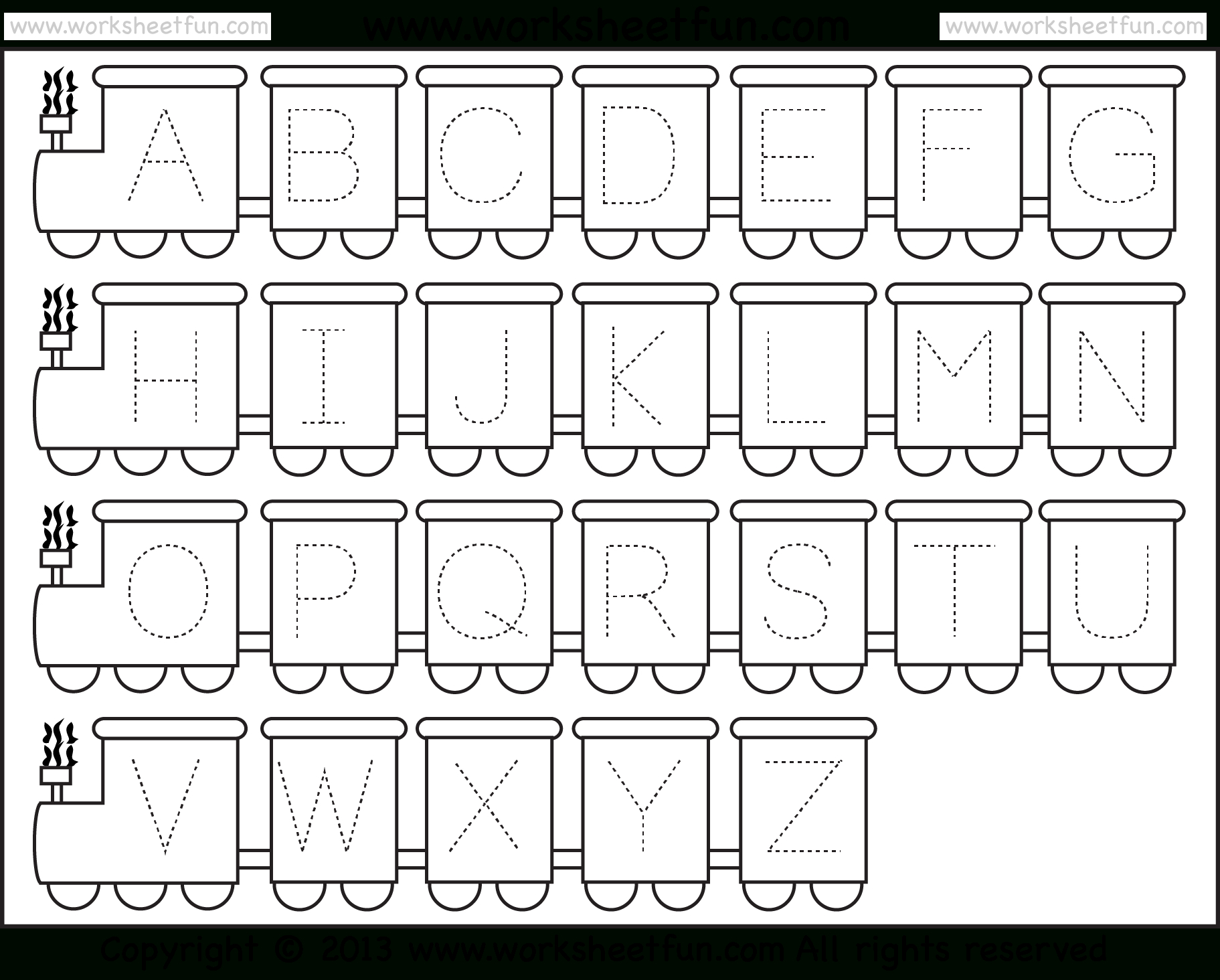 Letter Tracing Worksheet – Train Theme / Free Printable Worksheets - Free Printable Letter Tracing