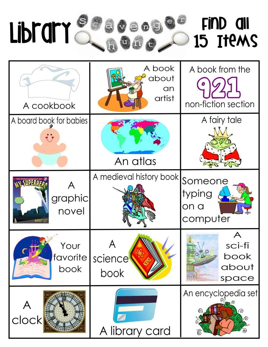 Library Activities   Reading   Library Scavenger Hunts, School - Free Printable Library Skills Worksheets