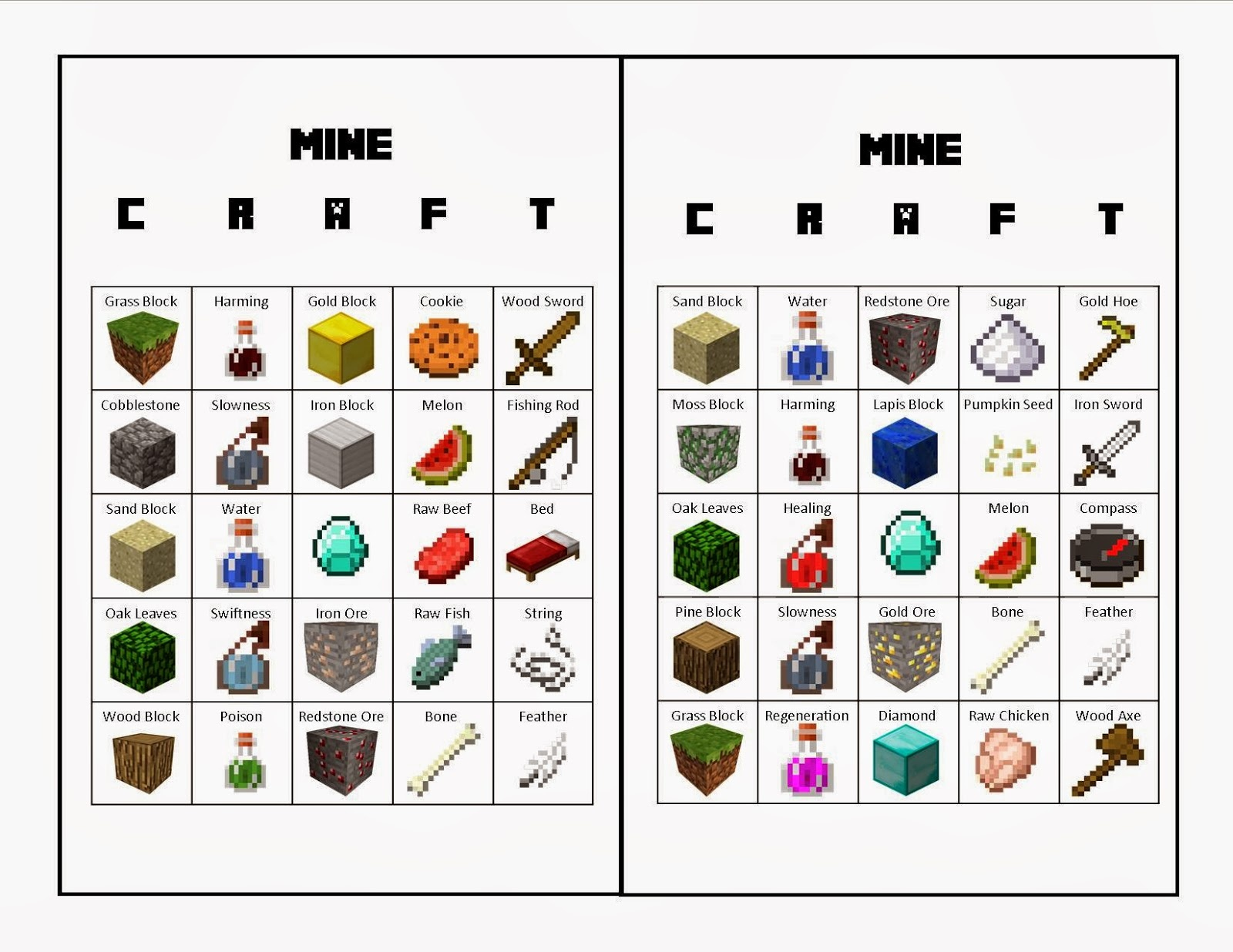 Life With Squeaker: The Upside - Free Printable Minecraft Bingo Cards