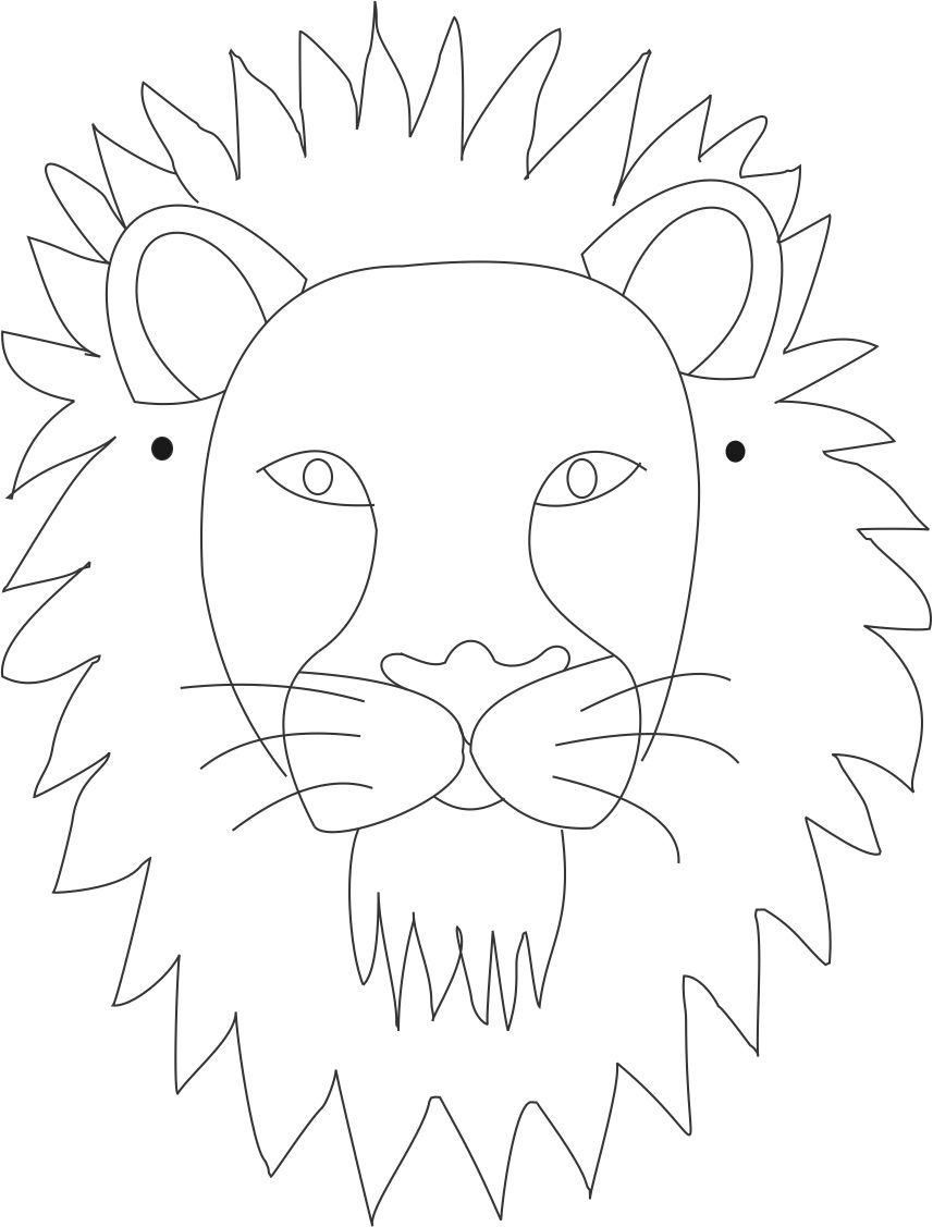 Lion Mask Printable Coloring Page For Kids | Caretas | Lion Mask - Free Printable Lion Mask