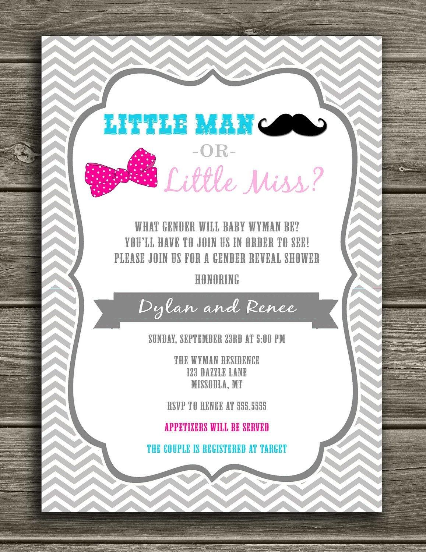 Little Man Or Little Miss - Gender Reveal Invitation $15.00 | Gender - Free Printable Gender Reveal Invitations