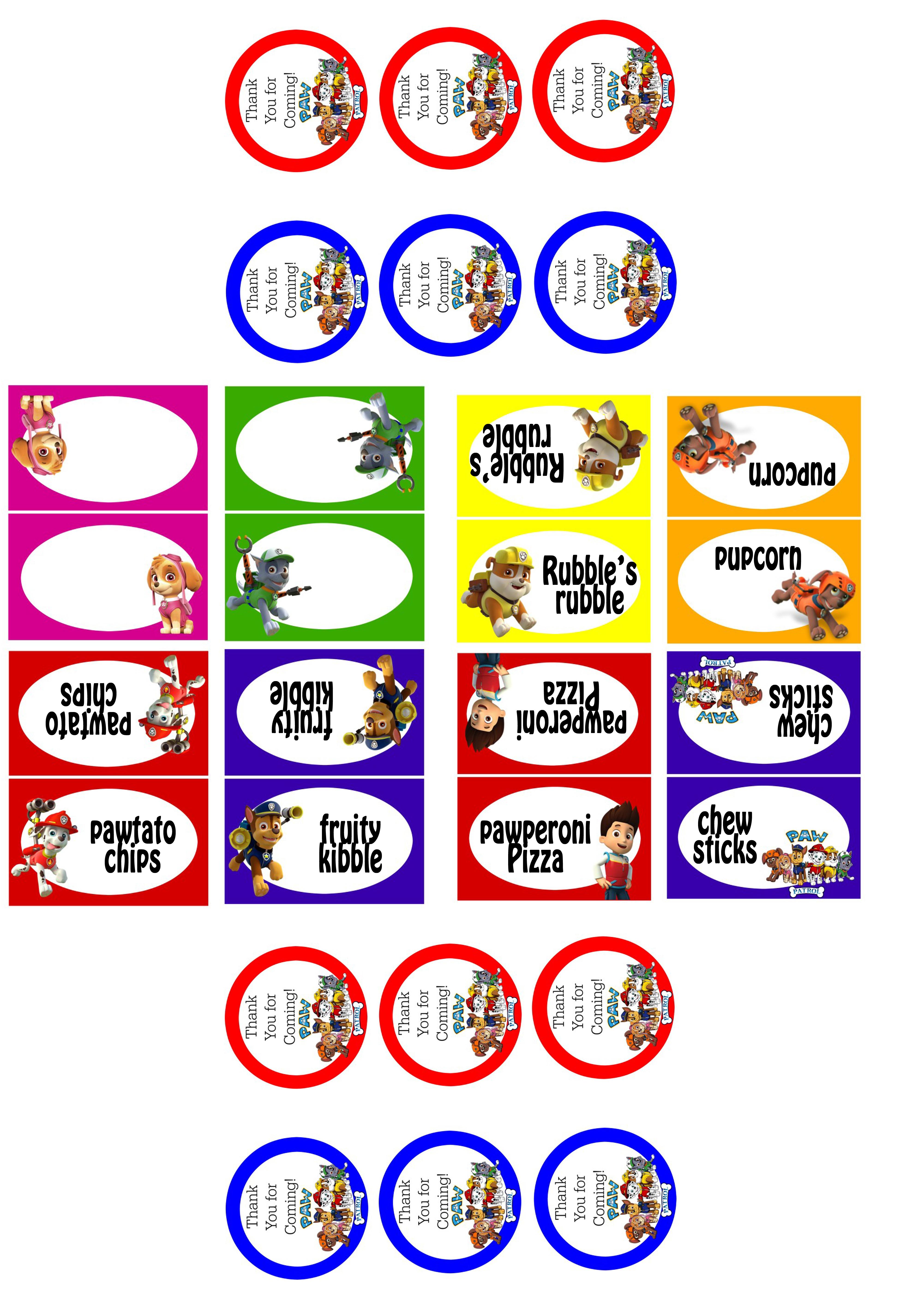 Lj's Paw Patrol Birthday Party - Bower Power - Free Printable Paw Patrol Food Labels