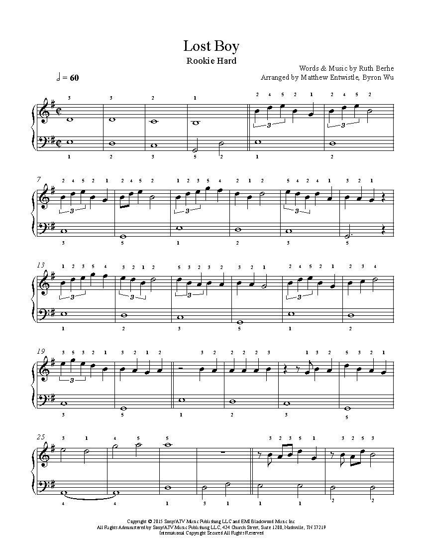 Lost Boyruth B Piano Sheet Music | Rookie Level | Playground - Lost Boy Piano Sheet Music Free Printable