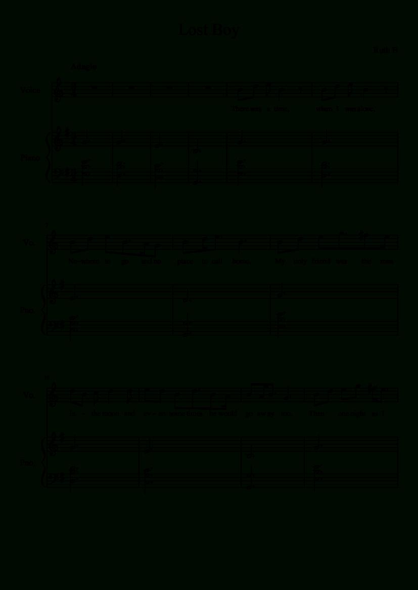 Lost Boyruth B - Vocal And Piano | Musescore | Piano | Music - Lost Boy Piano Sheet Music Free Printable