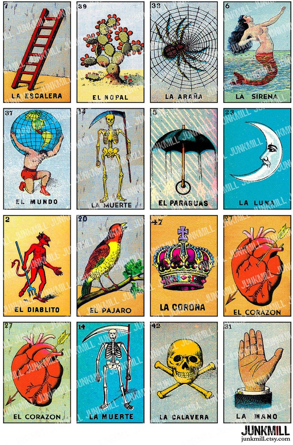 Loteria - Collage Sheet - Vintage Loteria Cards, Mexican Bingo - Loteria Printable Cards Free