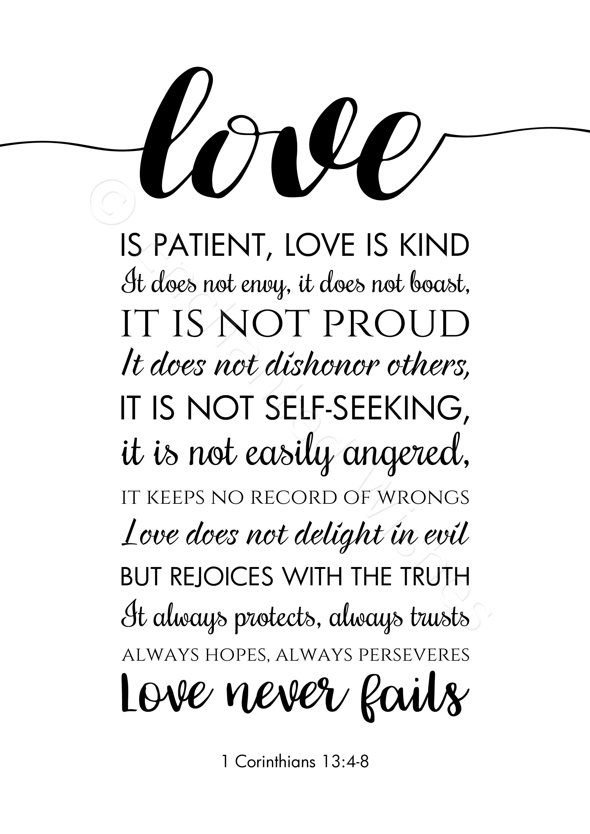Love Is Patient Love Is Kind Bible Verse Quote Print | Art Prints - Love Is Patient Love Is Kind Free Printable