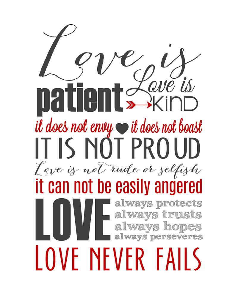 Love Is Patient Subway Art Printable {1 Corinthians 13} | Holiday - Love Is Patient Love Is Kind Free Printable