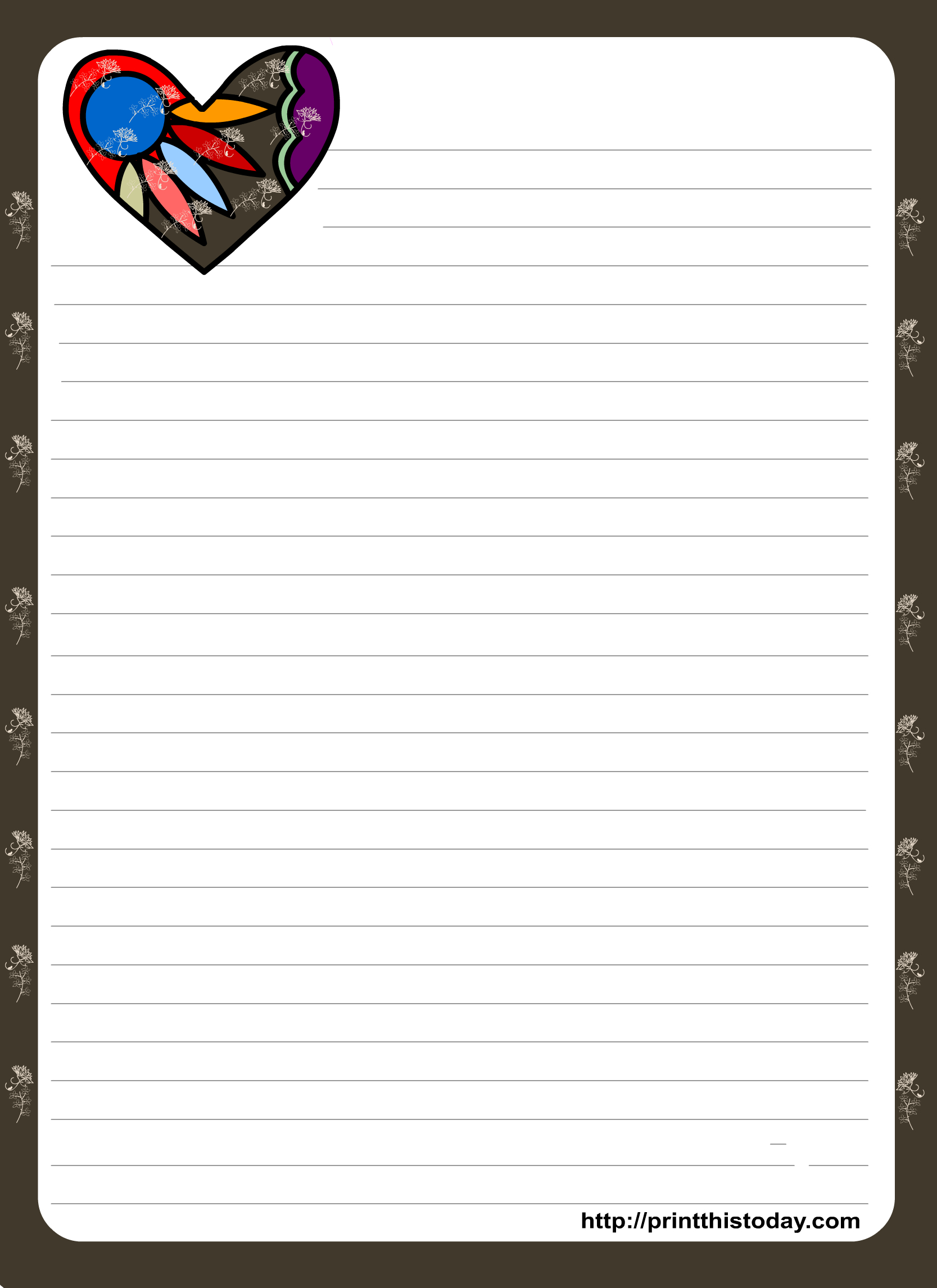 Love Letter Pad Stationery With Colorful Heart   Organization - Free Printable Stationary