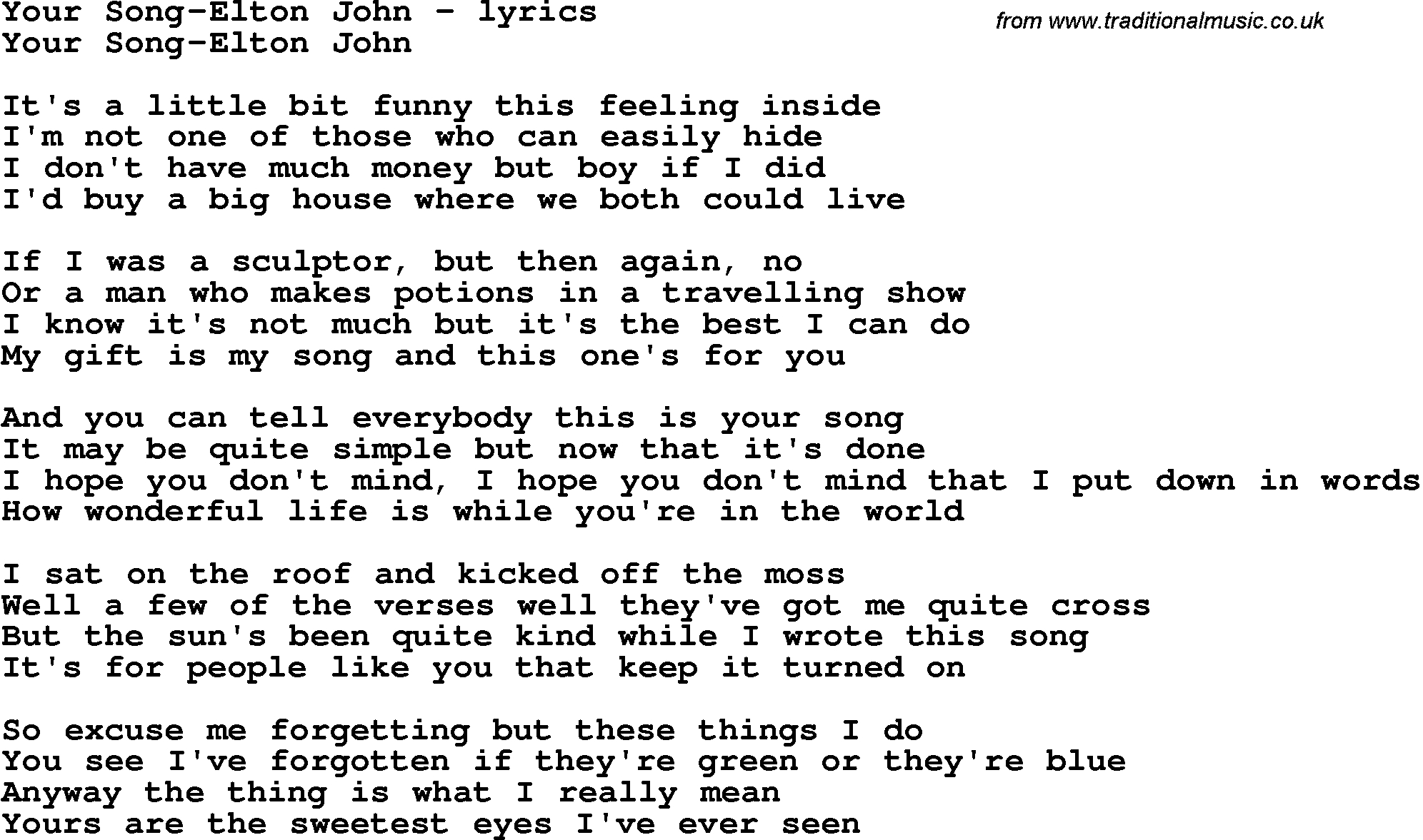 Love Song Lyrics For:your Song-Elton John - Free Printable Song Lyrics