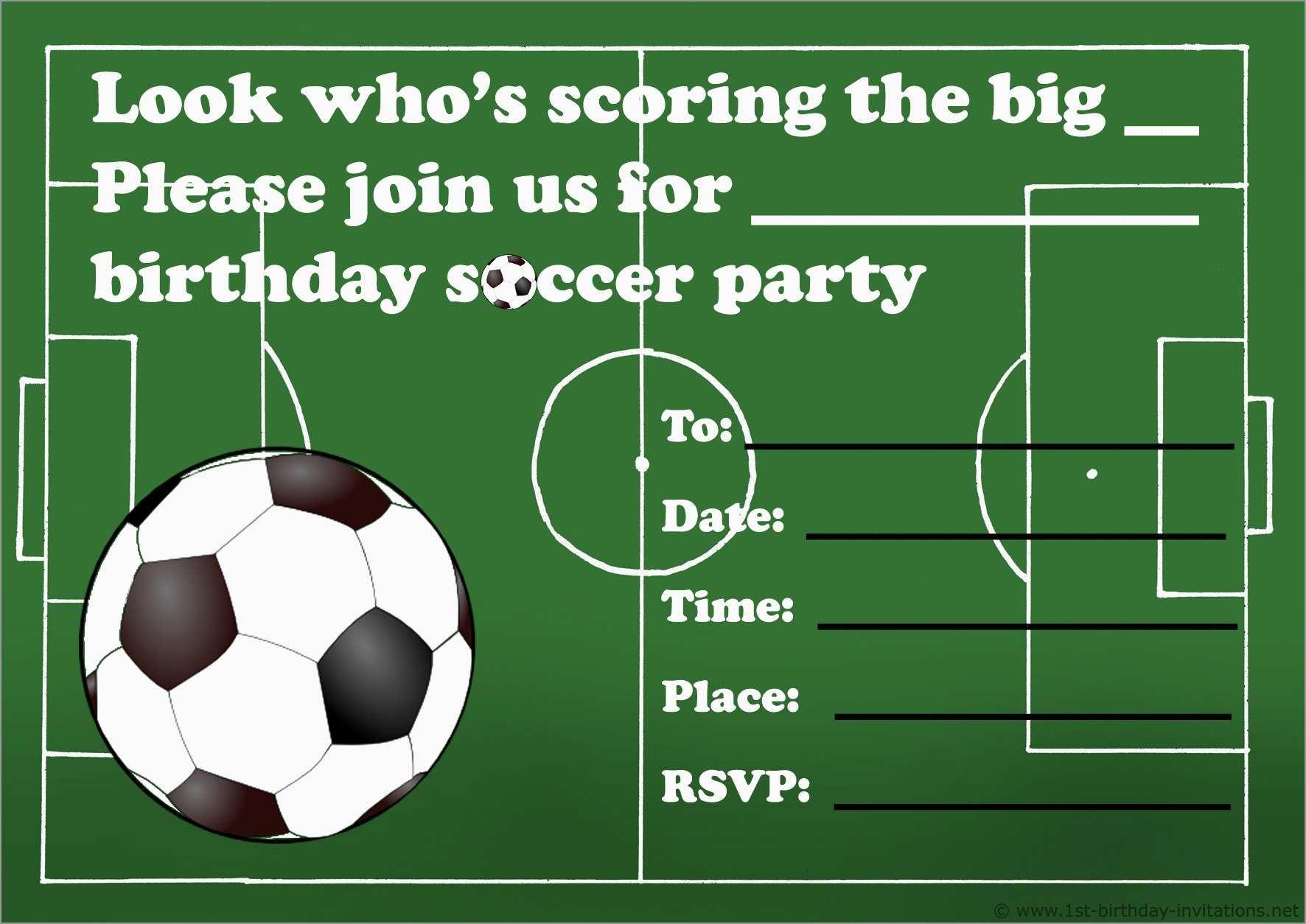 Lovely Football Birthday Party Invitation Templates Free | Best Of - Free Printable Soccer Birthday Invitations