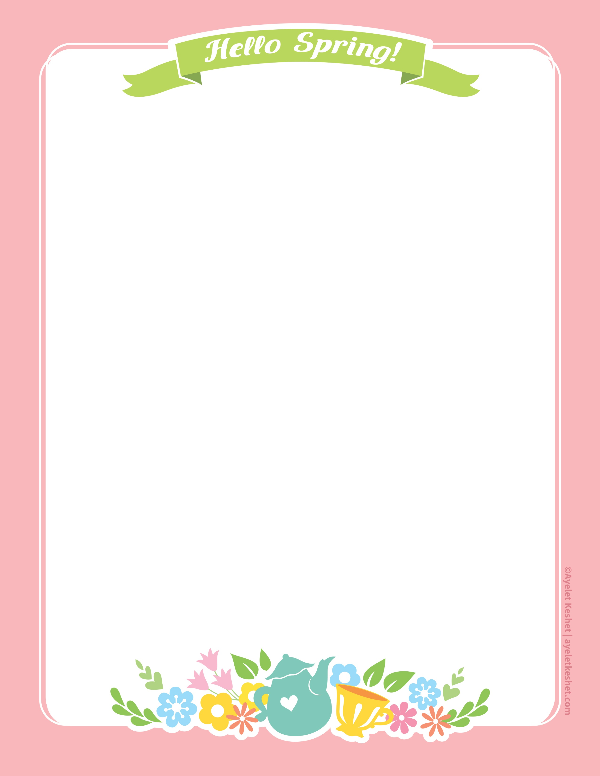 Lovely Free Printable Stationery Paper For Spring - Ayelet Keshet - Free Printable Stationery Pdf