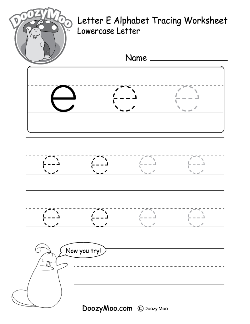 """Lowercase Letter """"e"""" Tracing Worksheet - Doozy Moo - Free Printable Tracing Worksheets"""