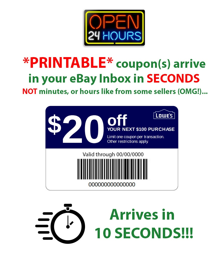 Lowes $20 Off $100 * Printable * 1Coupon~10 Seconds Delivery~ In - Lowes Coupons 20 Free Printable