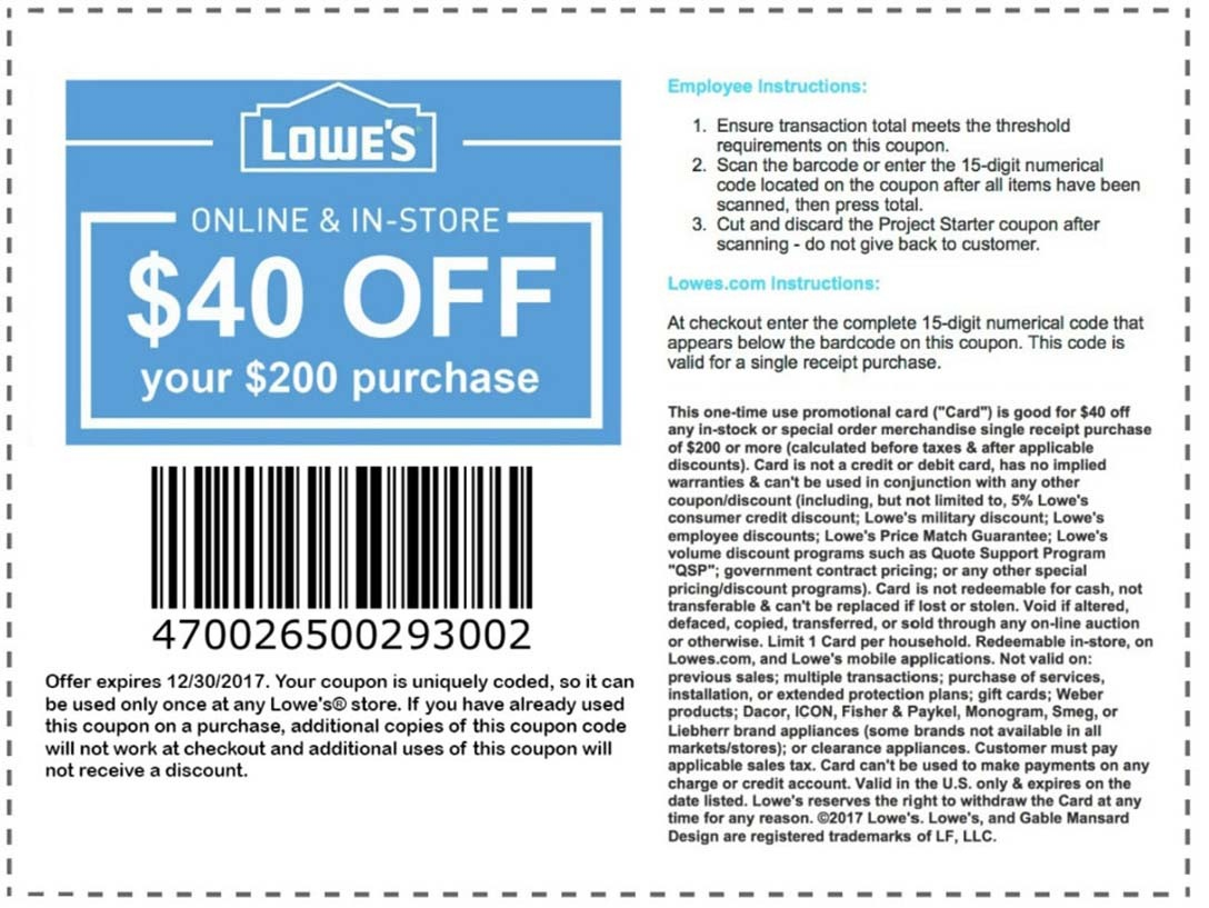 Lowes Promo Codes & Coupons - Lowes Coupon Printable Free