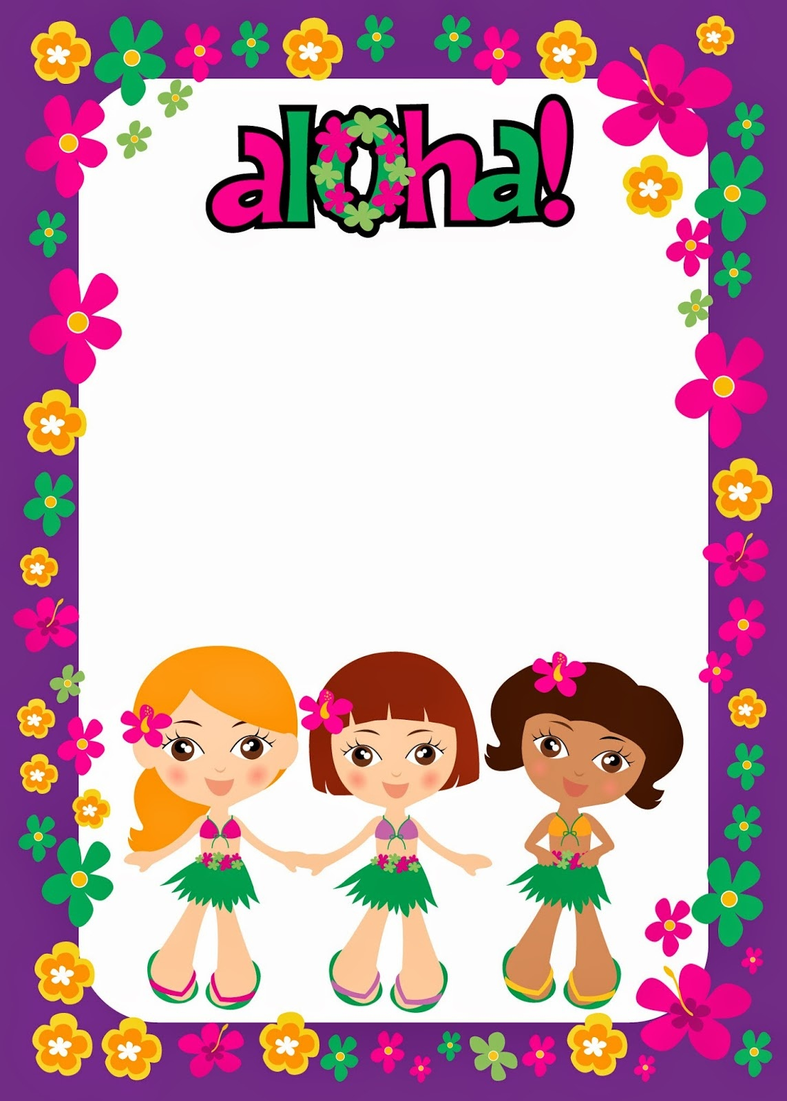 Luau For Girls: Free Printable Invitations. - Oh My Fiesta! In English - Free Luau Printables