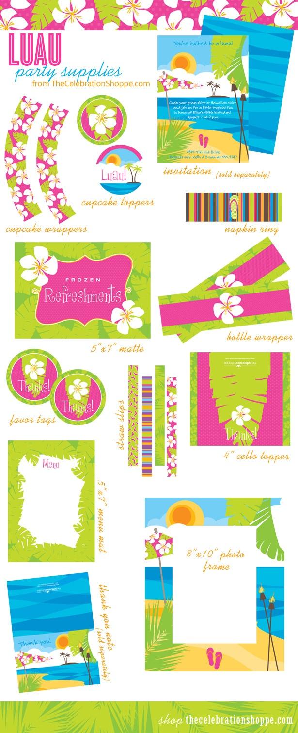 Luau Party Ideas In Pink, Orange And Green • The Celebration Shoppe - Free Luau Printables