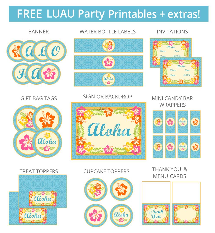 Luau Party Printables | Aloha/luau Party | Hawaiian Luau Party - Free Luau Printables