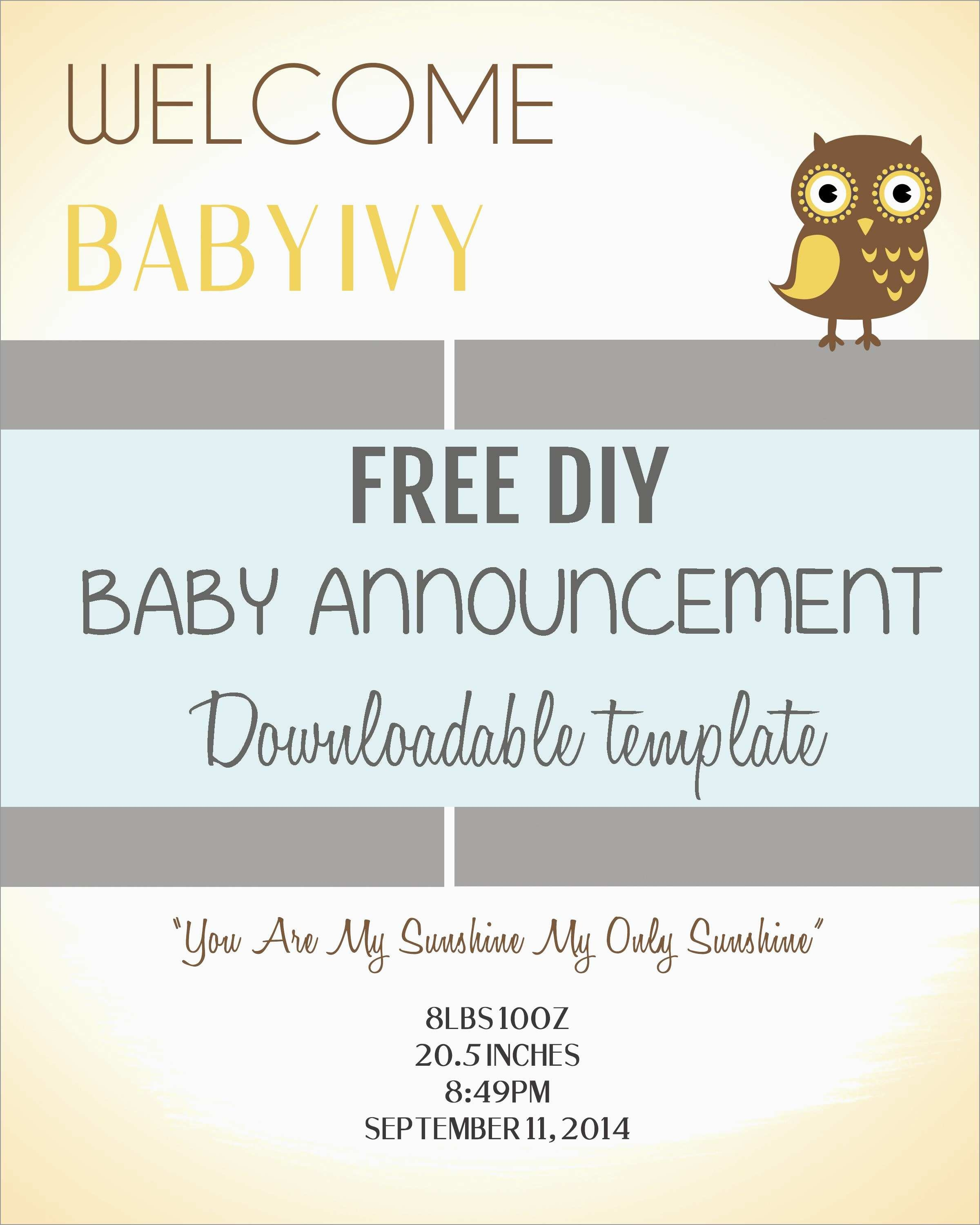 Luxury Birth Announcement Template Free Printable | Best Of Template - Free Printable Baby Announcement Templates