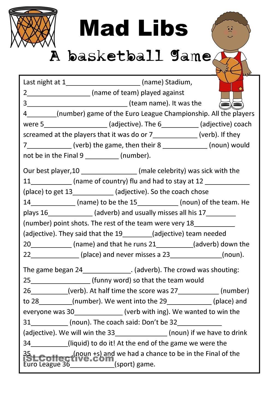 Mad Libs Basketball Game   Teaching Esl   Mad Libs, Basketball Games - Mad Libs Online Printable Free