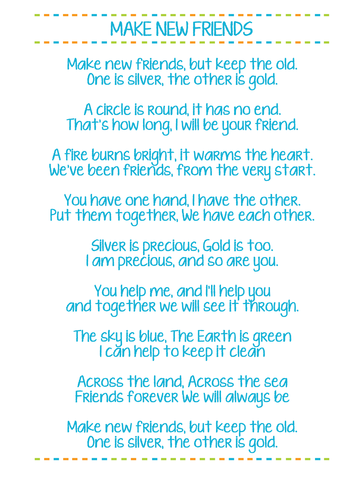 Make New Friends Printable Girl Scout Song Lyrics - Free Printable Song Lyrics