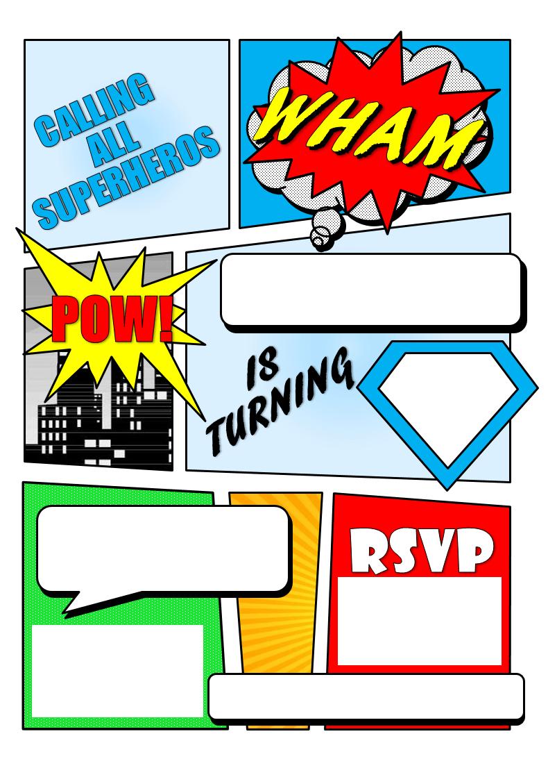 Make Your Own Comic Book Printable   Superhero Comic Book Party - Free Printable Superhero Birthday Invitation Templates