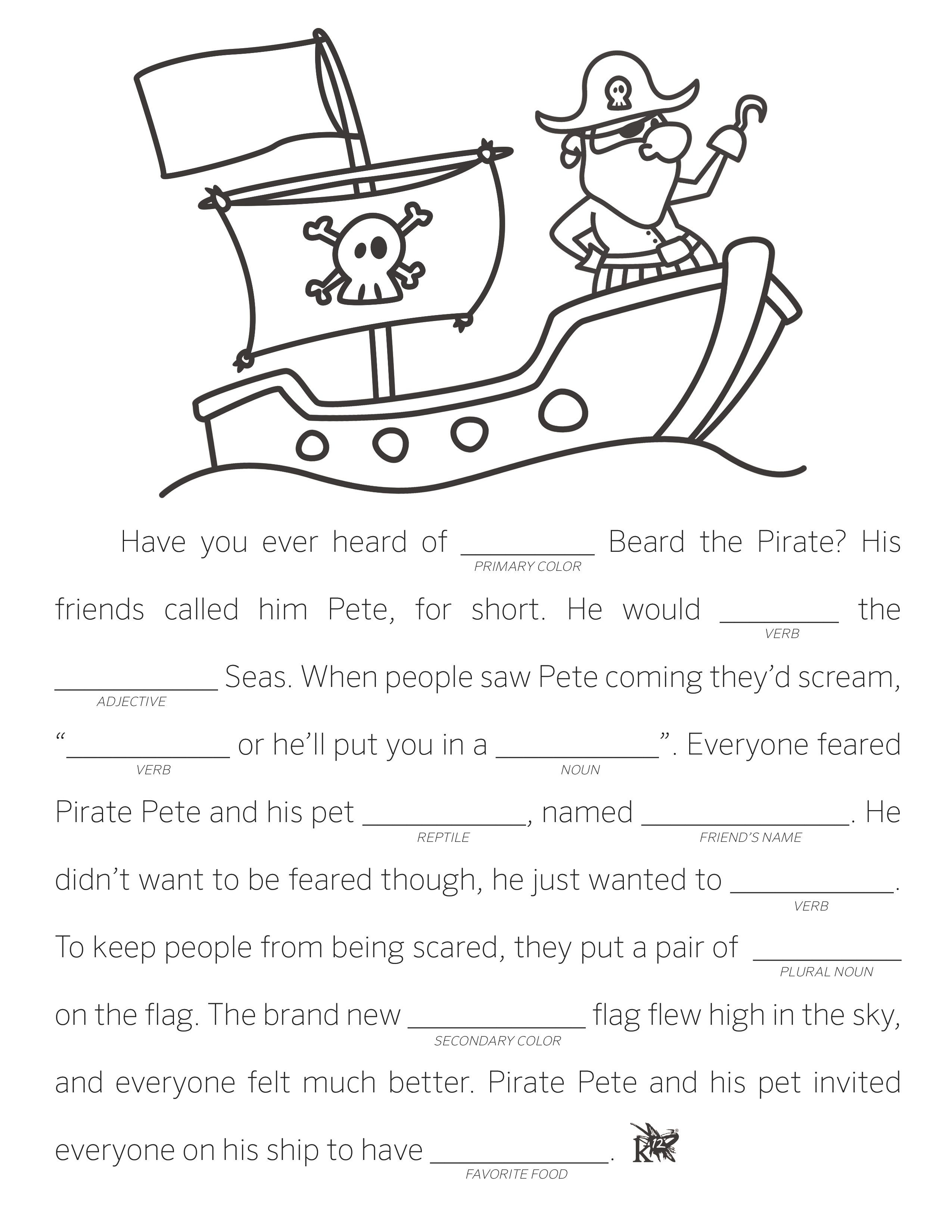 Make Your Own Fill In The Blank Stories | Language Arts Resources - Free Printable Stories For 4Th Graders