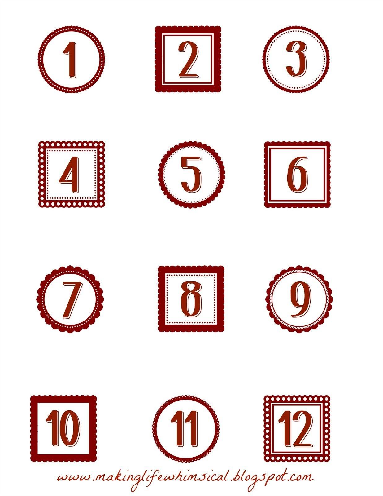 Making Life Whimsical: Free Printablesadvent Numbers | Christmas - Free Printable Advent Numbers