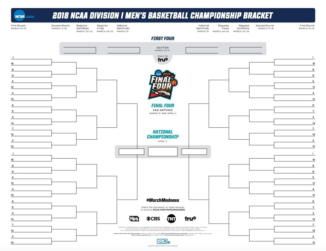 March Madness Bracket 2018: Official And Printable .pdf For The Ncaa - Free Printable Brackets Ncaa Basketball