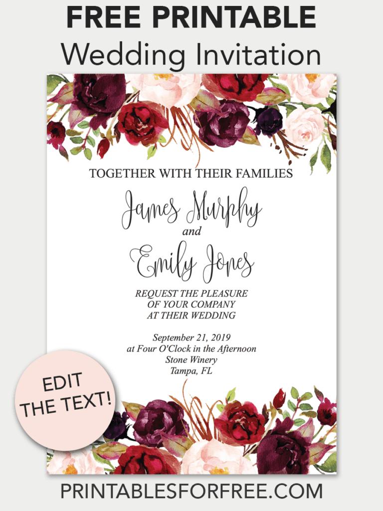 Marsala Floral Printable Wedding Invitation   Invitations - Free - Free Printable Wedding Invitations Templates Downloads
