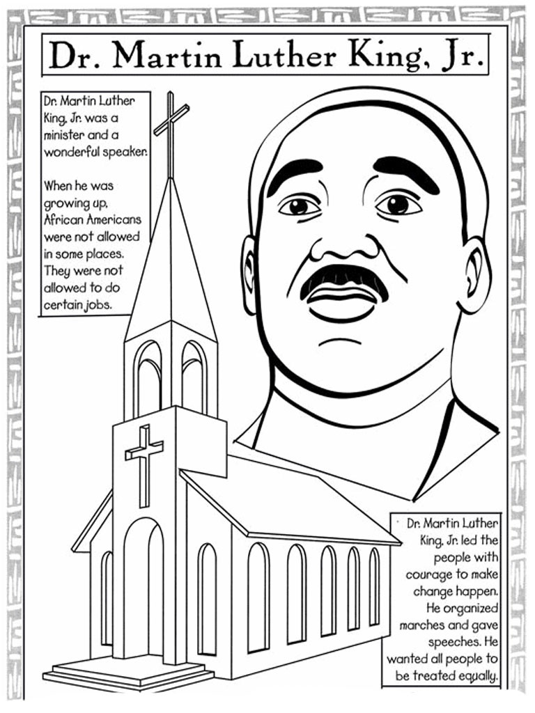 Martin Luther King Jr Coloring Pages And Worksheets - Best Coloring - Martin Luther King Free Printable Coloring Pages