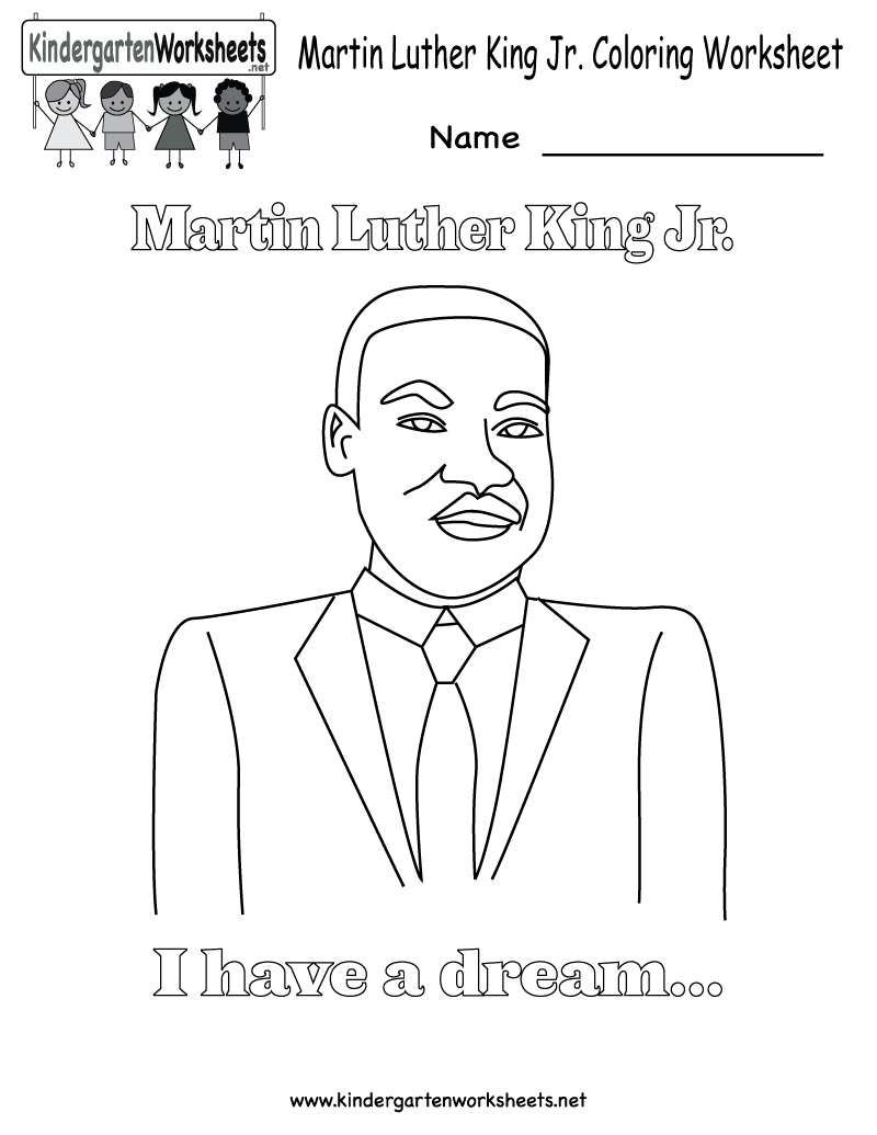 Martin Luther King Jr. Coloring Worksheet - Free Kindergarten - Free Printable Martin Luther King Jr Worksheets