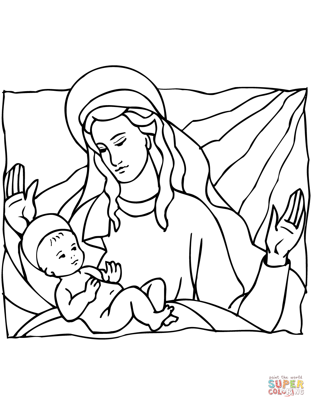 Mary And Baby Jesus Coloring Page   Free Printable Coloring Pages - Free Printable Christmas Baby Jesus Coloring Pages