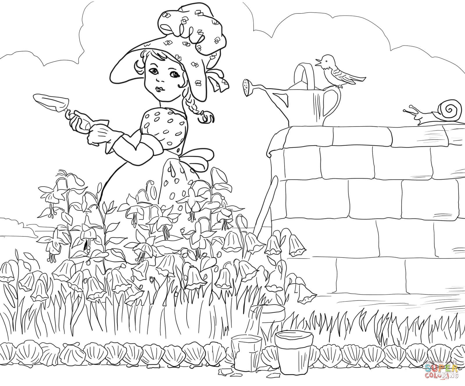 Mary Mary Quite Contrary Nursery Rhyme Coloring Page | Free - Free Printable Nursery Rhyme Coloring Pages