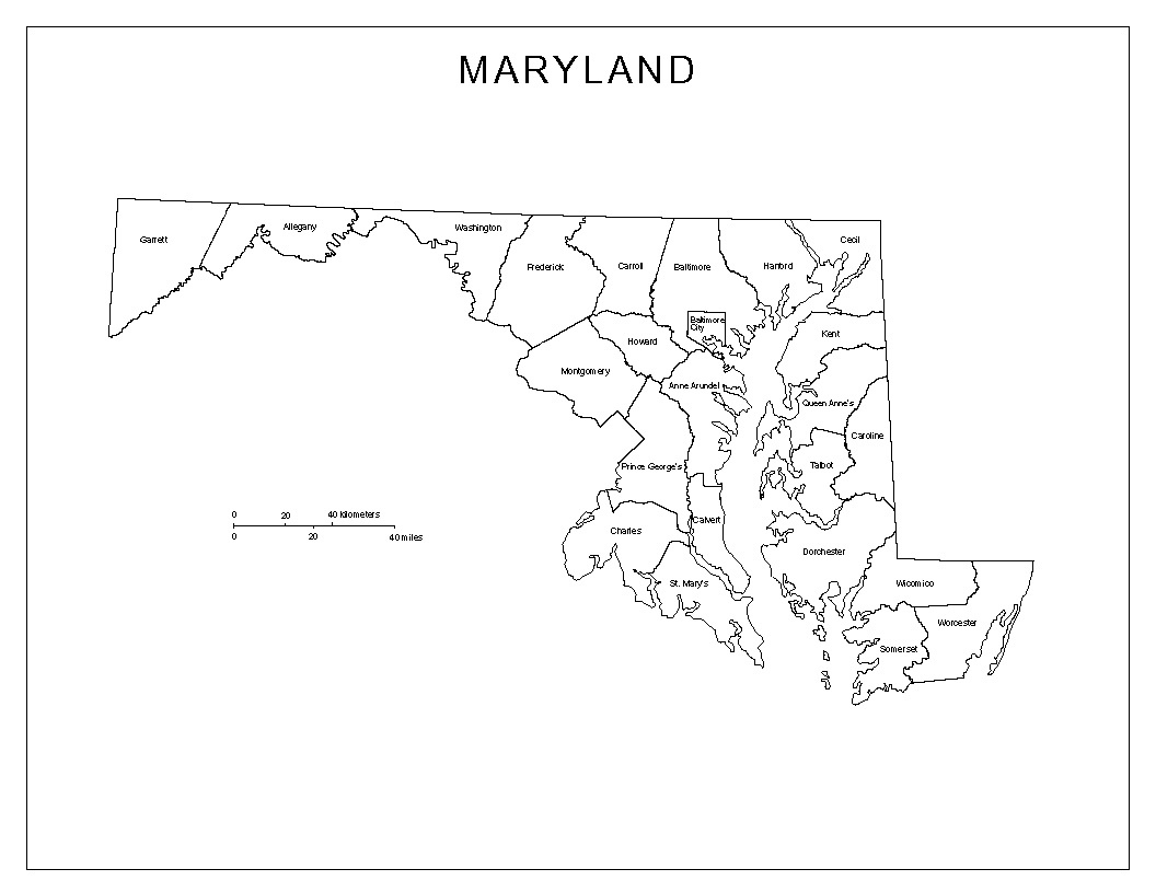 Maryland Labeled Map - Free Printable Map Of Maryland