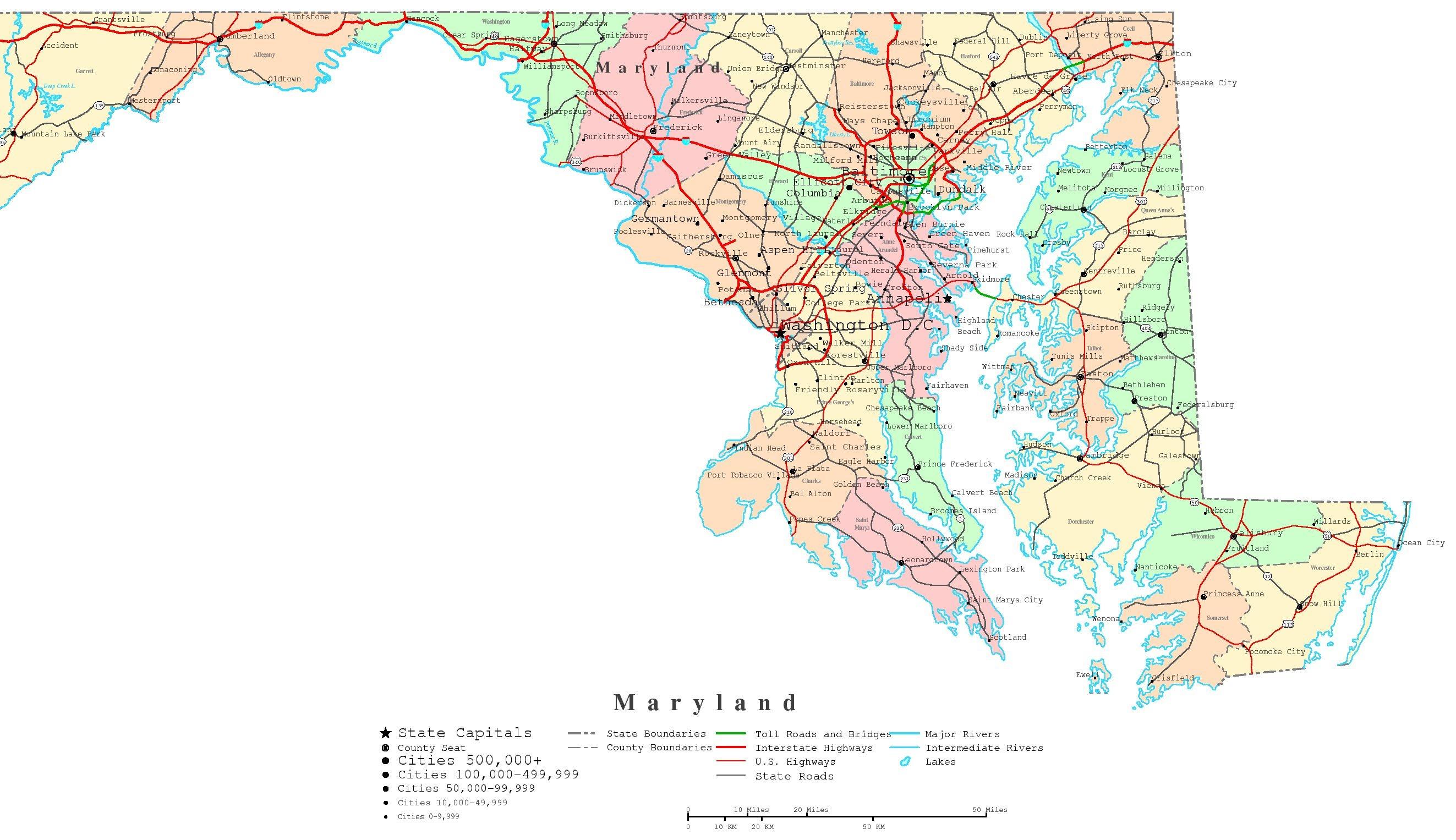 Maryland Printable Map - Free Printable Map Of Maryland