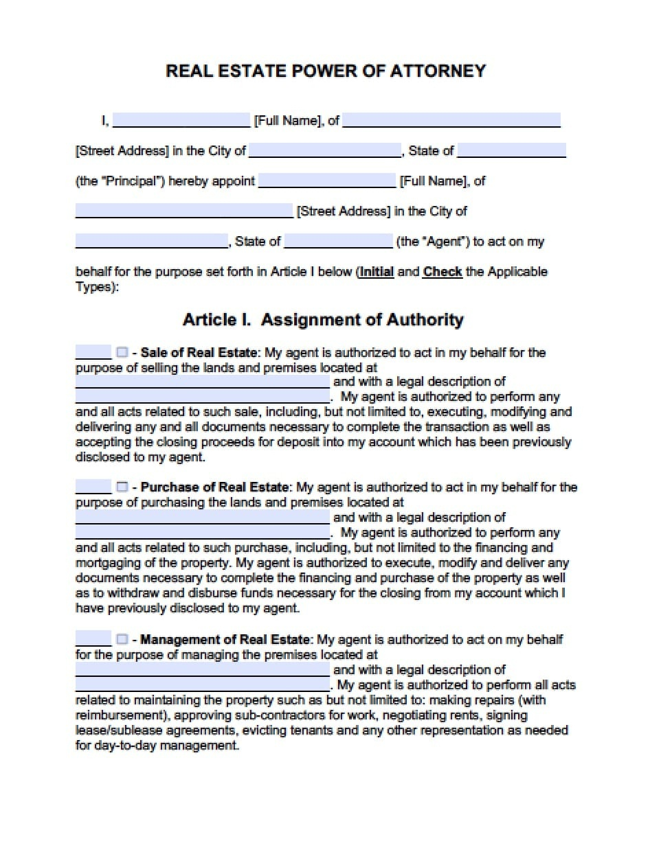 Maryland Real Estate Only Power Of Attorney Form - Power Of Attorney - Maryland Power Of Attorney Form Free Printable