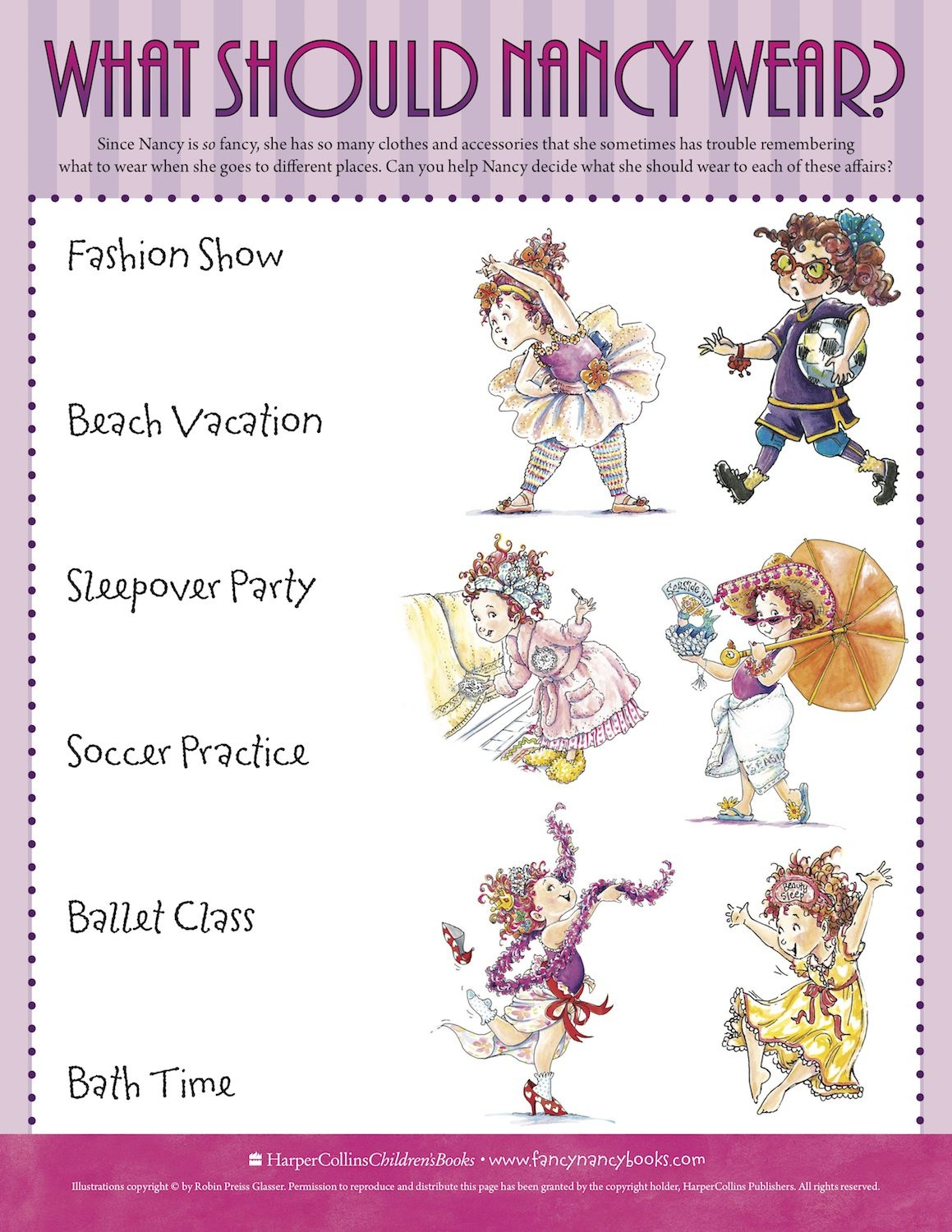 Match Fancy Nancy's Outfit To The Event With This Fun Free Printable - Free Printable Tea Party Games