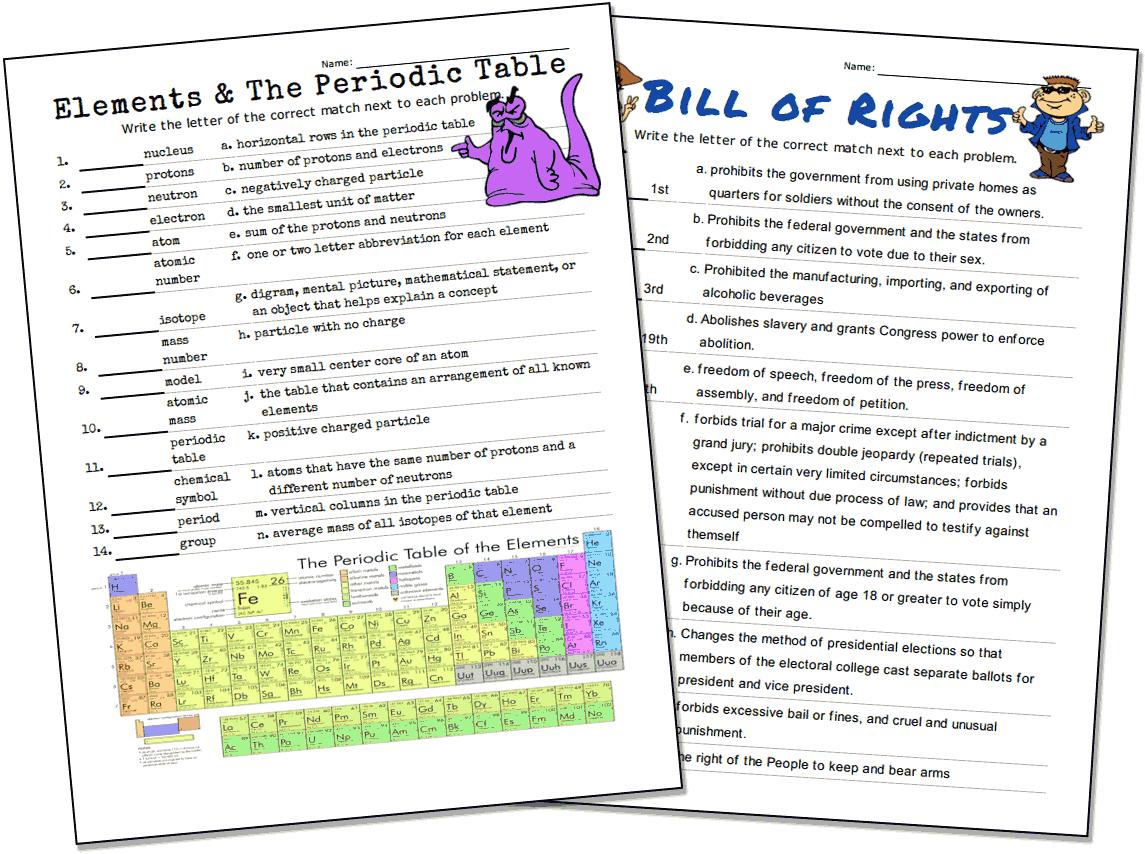 Match-Up Worksheet Maker - Free Printable Test Maker For Teachers
