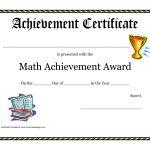 Math Achievement Award Printable Certificate Pdf | Math Activites   Free Printable School Achievement Certificates
