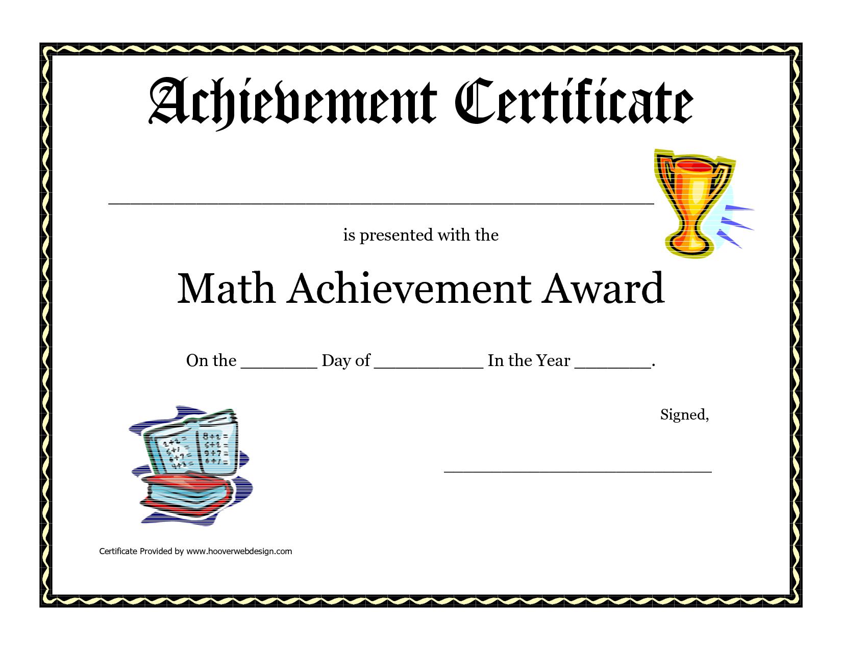 Math Achievement Award Printable Certificate Pdf | Math Activites - Free Printable School Achievement Certificates