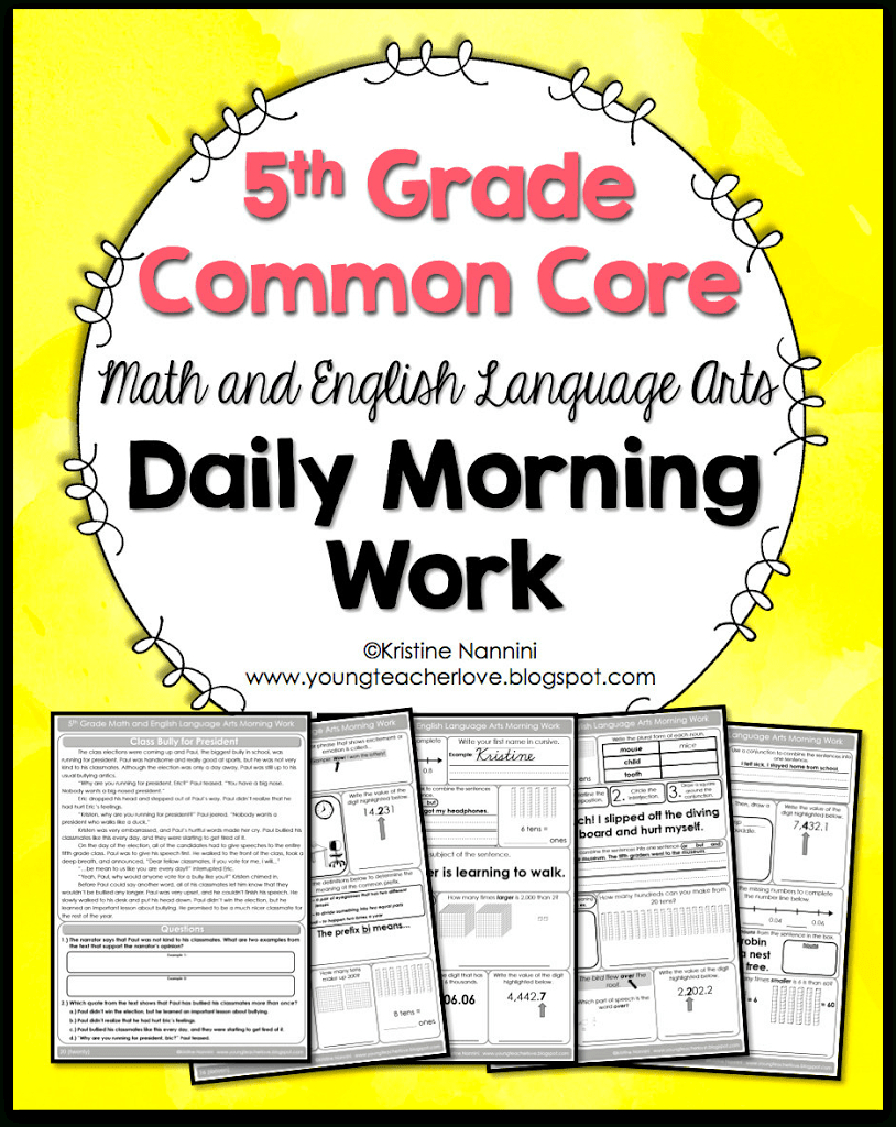 Math And English Language Arts Daily Morning Work - Young Teacher Love - Free Printable 4Th Grade Morning Work