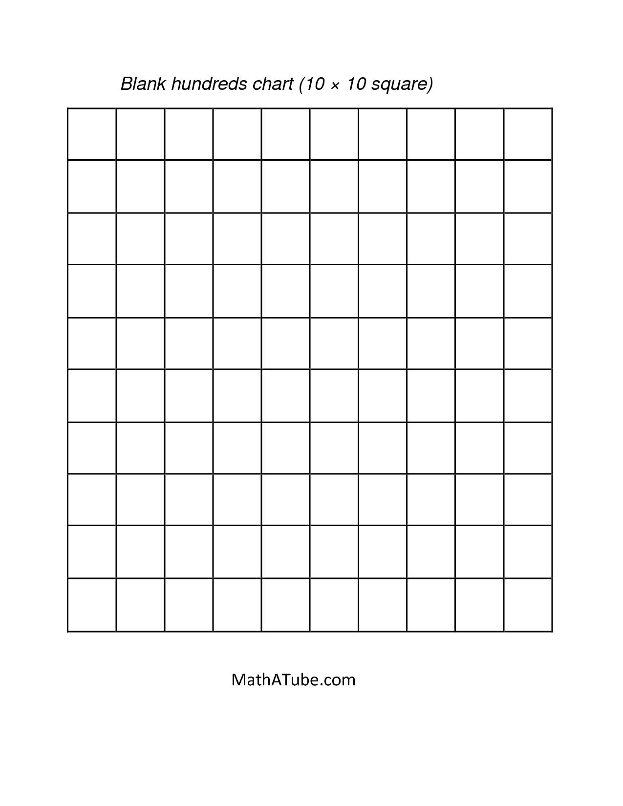 Math : Blank Hundreds Chart Blank Hundreds Chart Grid. Blank - Free Printable Hundreds Grid