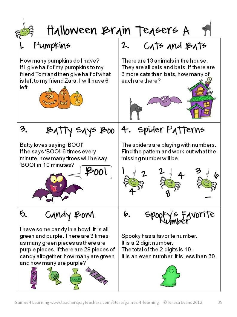 Math Brain Teasers | It Has Halloween Math Brain Teasers - Free Printable Holiday Brain Teasers