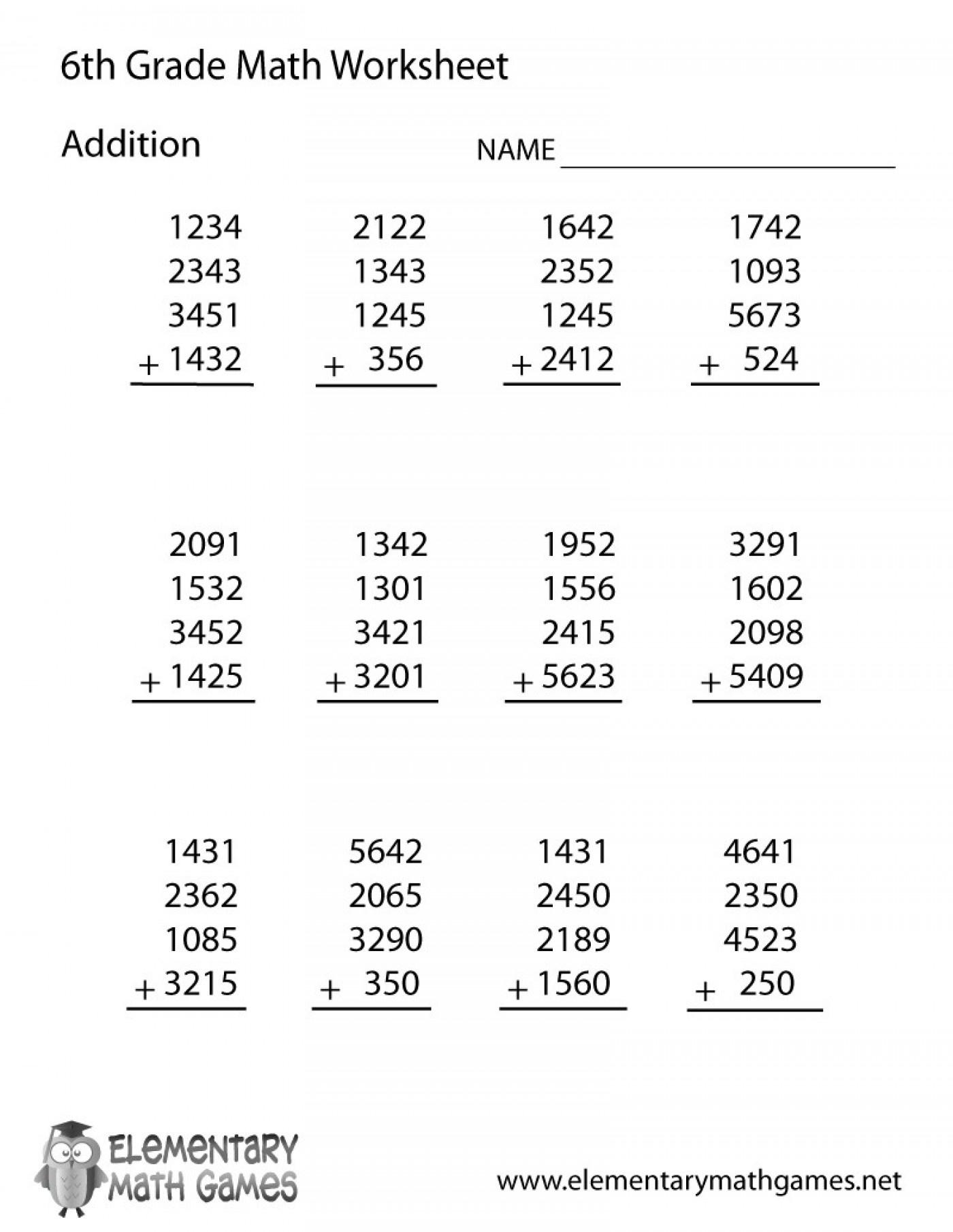 Math Worksheets Year Maths Free Printable 6Th Grade Fantastic 6 Pdf - Free Printable 6Th Grade Worksheets