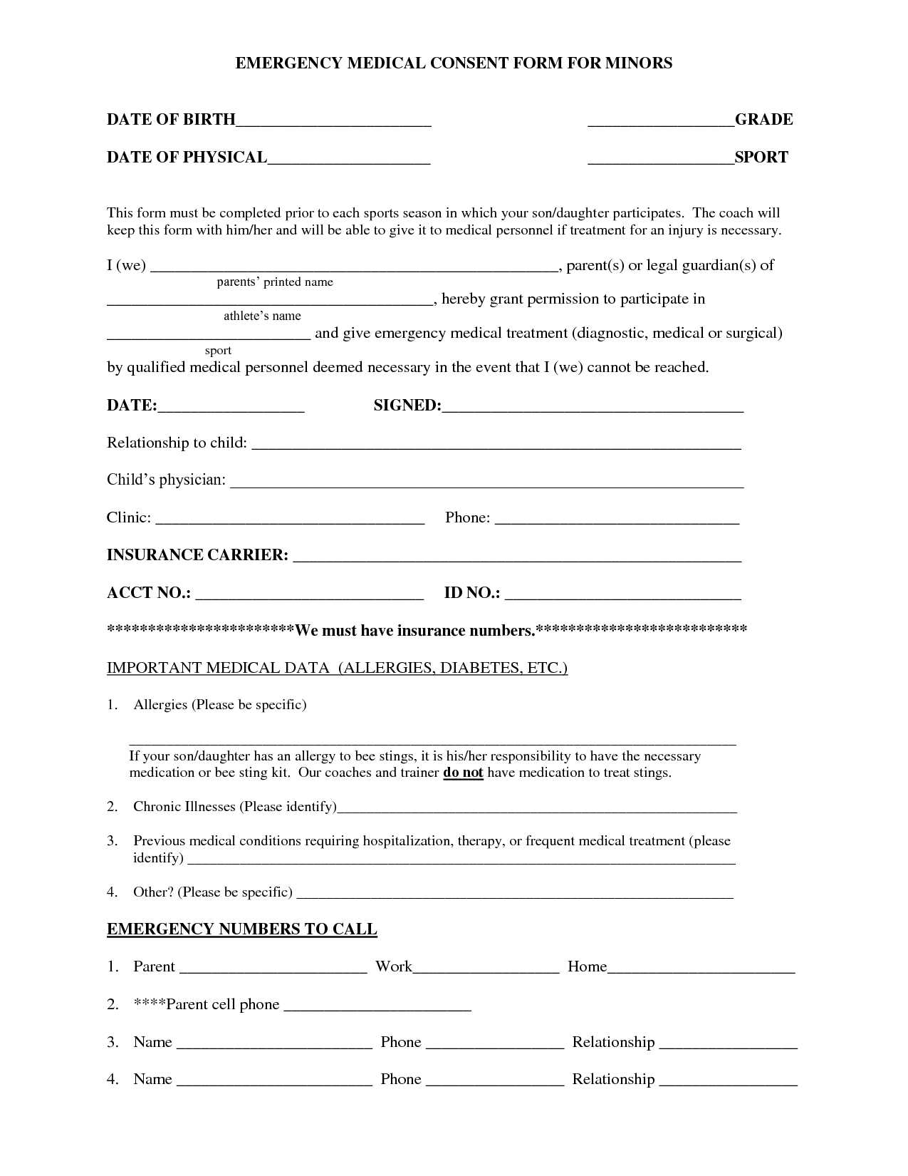 Medical Authorization Form For Children Images - Medical - Free Printable Child Medical Consent Form