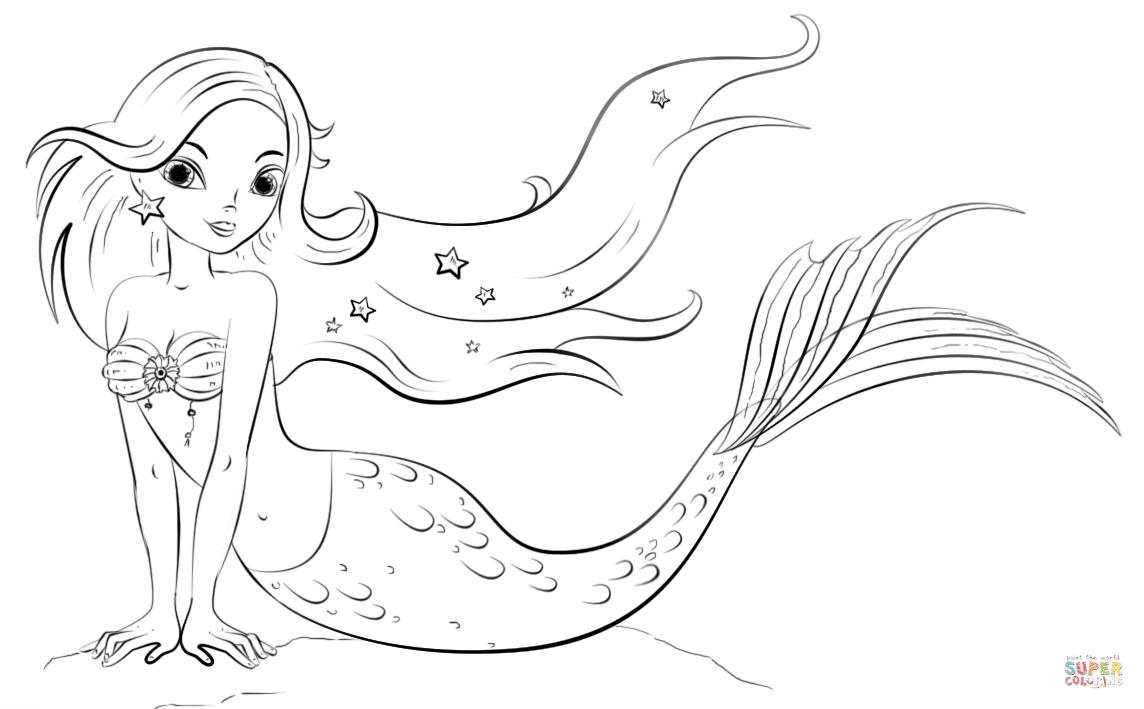Mermaid Coloring Page | Free Printable Coloring Pages - Free Printable Mermaid Coloring Pages For Adults