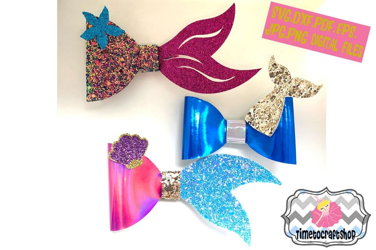 Mermaid Hair Bow Bundle Template. Svg. Dxf. Pdf. Eps. Jpg. - Free Printable Hair Bow Templates