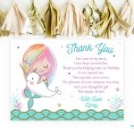 Mermaid Thank You Card Narwhal Birthday Mermaid Party Narwhal | Etsy   Free Printable Mermaid Thank You Cards