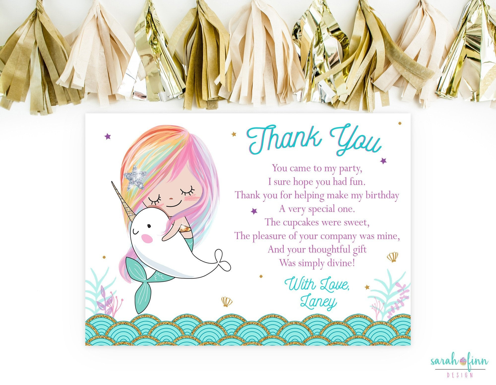 Mermaid Thank You Card Narwhal Birthday Mermaid Party Narwhal | Etsy - Free Printable Mermaid Thank You Cards